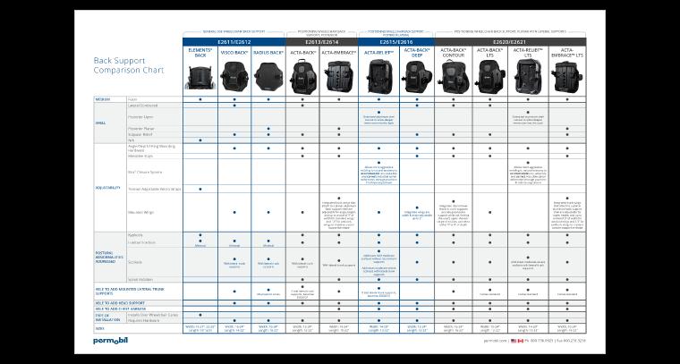 Back Support Comparison Chart