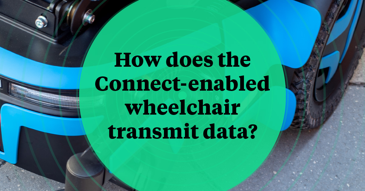 How does the Connect-enabled wheelchair transmit data?